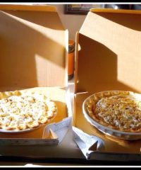 Boxed Pies with pizza box at TidyMom