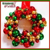 Ornament wreath at TidyMom.net
