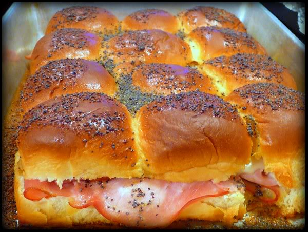Super Bowl Appetizer mini ham and swiss sandwiches