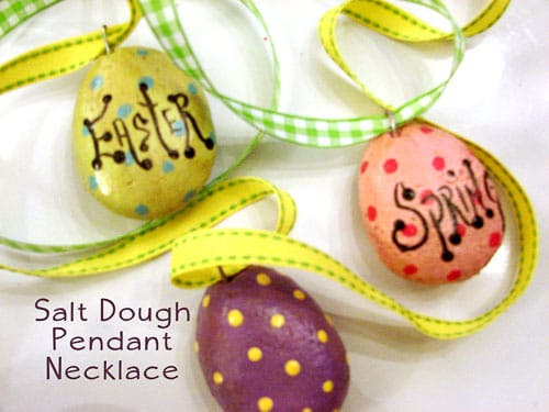 Salt dough pendant necklace