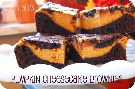 pumpkin cheesecake brownies! recipe at TidyMom.net