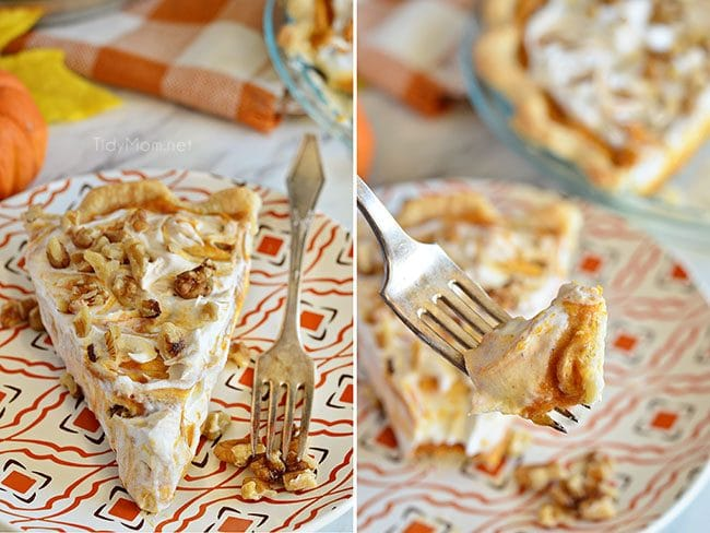 LAYERED WALNUT PUMPKIN PIE has been a long tradition in our family for Thanksgiving for over 30 years. This EASY recipe not your ordinary pumpkin pie, it'sa light and fluffy, scrumptious, cold creamy pumpkin pie! A perfect alternative to regular pumpkin pie for Thanksgiving or Christmas dessert. PRINT the recipe at Tidymom.net