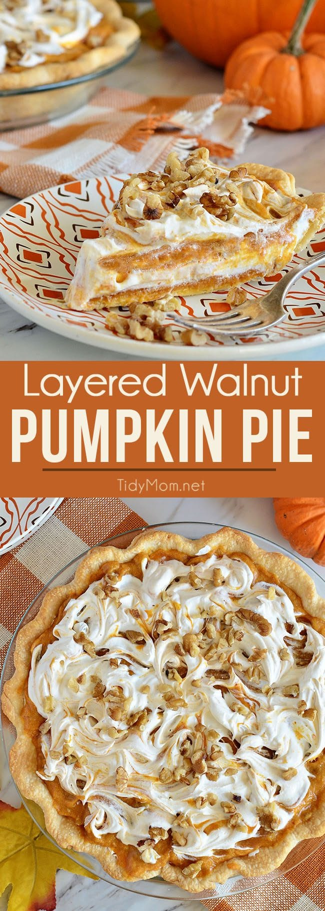 LAYERED WALNUT PUMPKIN PIE has been a long tradition in our family for Thanksgiving. This family favorite pumpkin pie recipe that was handed down to me by my grandpa 30+ years ago. This EASY recipe not your ordinary pumpkin pie, it'sa light and fluffy, scrumptious, cold creamy pumpkin pie! A perfect alternative to regular pumpkin pie for Thanksgiving or Christmas dessert. PRINT the recipe at Tidymom.net