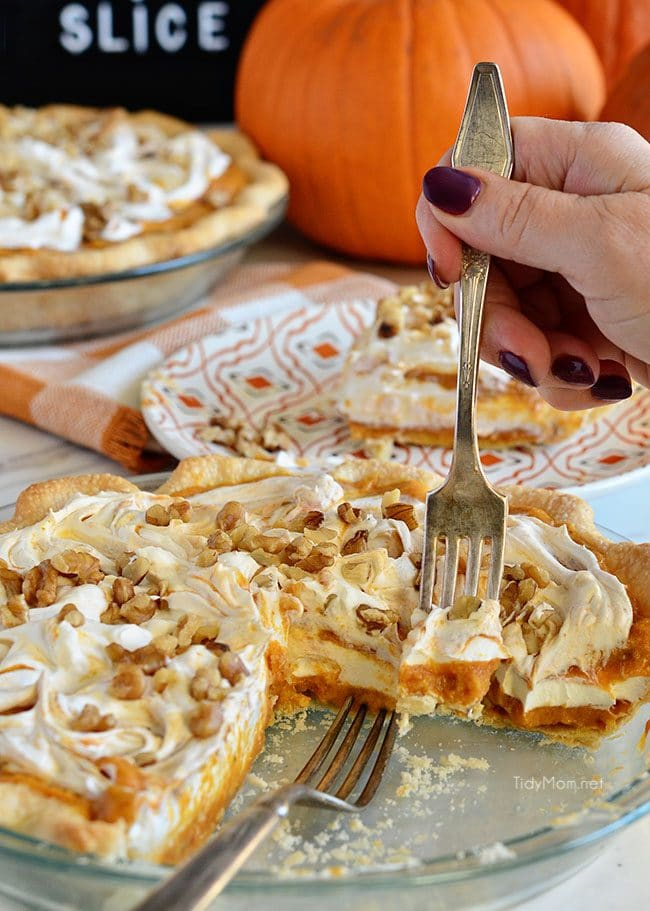 LAYERED WALNUT PUMPKIN PIE has been a long tradition in our family for Thanksgiving. A family favorite pumpkin pie recipe that was handed down to me by my grandpa 30+ years ago. This EASY recipe not your ordinary pumpkin pie, it's a light and fluffy, scrumptious, cold creamy pumpkin pie! A perfect alternative to regular pumpkin pie for Thanksgiving or Christmas dessert. PRINT the recipe at Tidymom.net