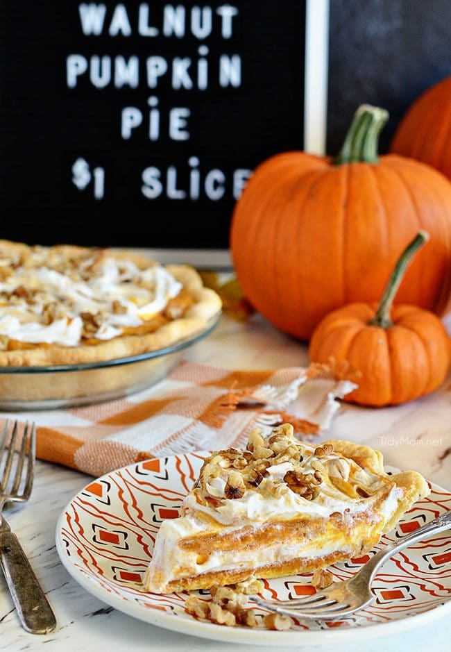 LAYERED WALNUT PUMPKIN PIE has been a 30+ year tradition in our family for Thanksgiving. A recipe that was handed down to me by my grandpa. This EASY recipe not your ordinary pumpkin pie, it'sa light and fluffy, scrumptious, cold creamy pumpkin pie! A perfect alternative to regular pumpkin pie for Thanksgiving or Christmas dessert. PRINT the recipe at Tidymom.net