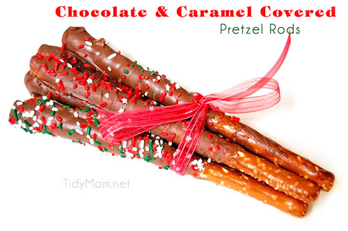 Chocolate & Caramel Covered Pretzel Rods  at TidyMom.net