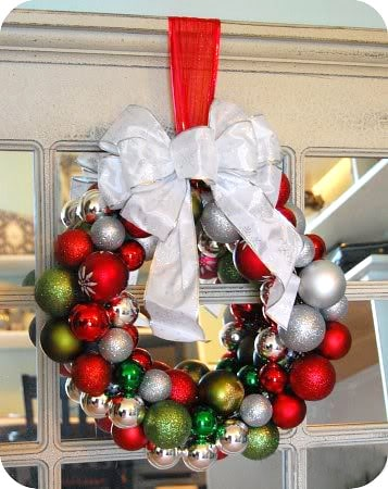 How to make an ornament ball wreath.  Tutorial at TidyMom.net