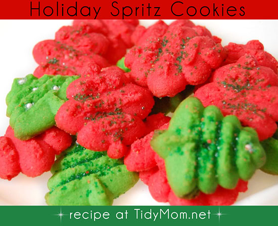 Spritz Cookie Recipe for holiday baking at TidyMom.net