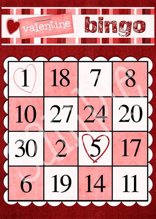 Valentine Bingo Card printable