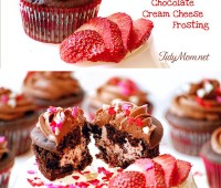 Chocolate Covered Strawberry Cupcakes! recipe at TidyMom.net