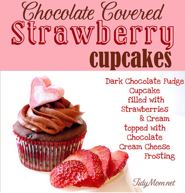 Chocolate Covered Strawberry Cupcakes #recipe at TidyMom