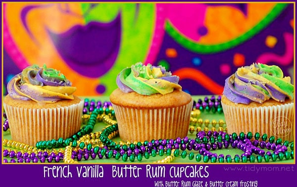Mardi Gras Butter Rum cupcakes