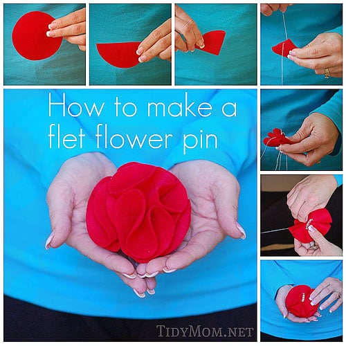 How to make a felt rosette flower pin tutorial at TidyMom.net