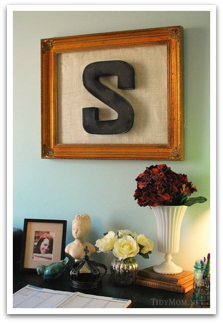 Cheap wall art with an old frame burlap and a paper mache letter and