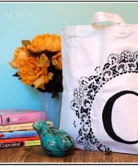 Learn how to stencil a personalized monogram canvas bag at TidyMom.net