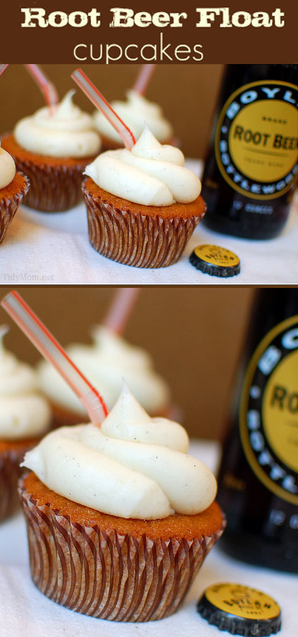 Vanilla Bean Frosting makes this Root Beer Cupcake tast just like a Root Beer Float!  Recipe at TidyMom.net
