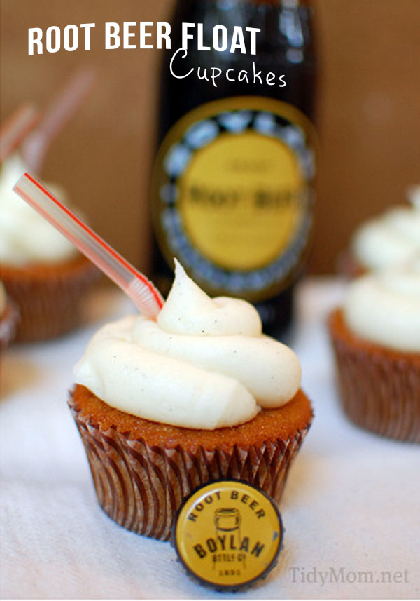 The Vanilla Bean Frosting makes this Root Beer Cupcake tast just like a Root Beer Float!  Recipe at TidyMom.net