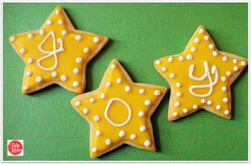 Star cookies with glaze icing