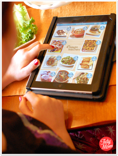 iPad with Weight Watchers Kitchen Companion app