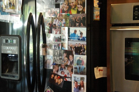 Picture clutter on fridge
