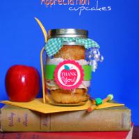 Teacher Appreciation cupcakes in a jar