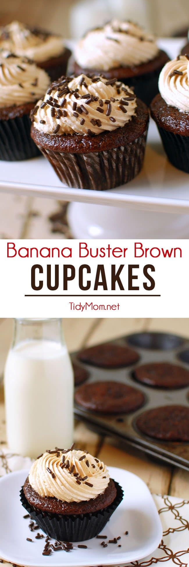 Banana Chocolate Cupcakes with Peanut Butter Frosting = Banana Buster Brown Cupcakes recipe at TidyMom.net