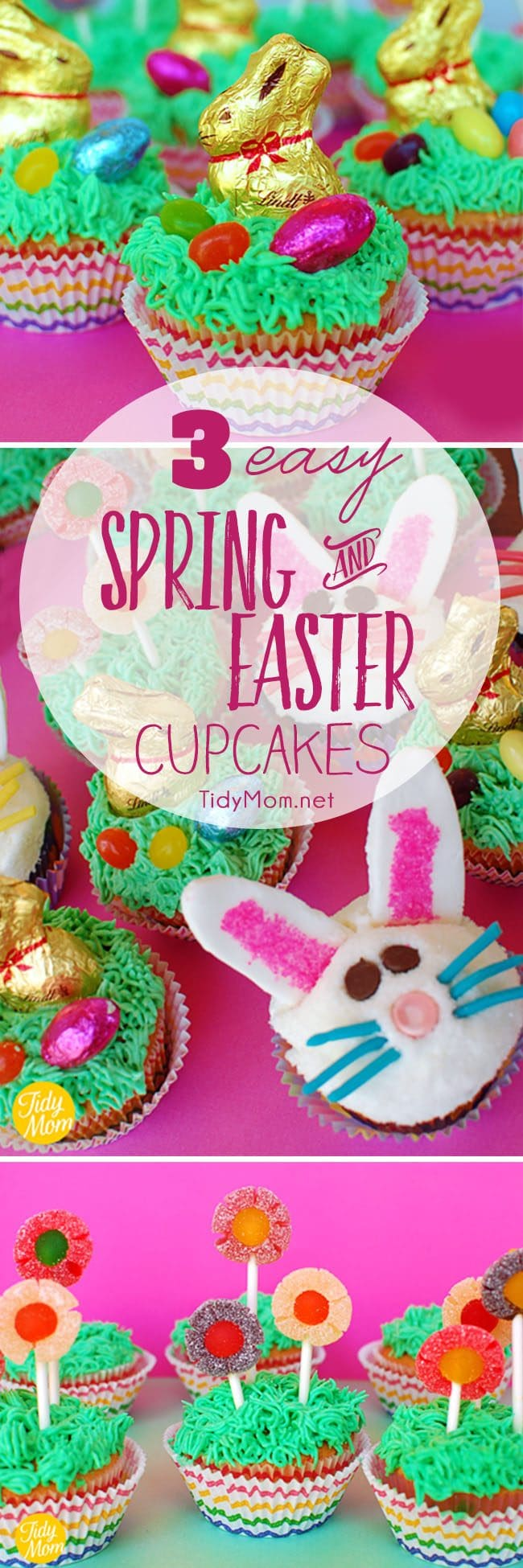 3 Easy Spring and Easter Cupcake ideas. Learn how to make all three at TidyMom.net