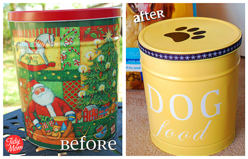 dog food tin makeover