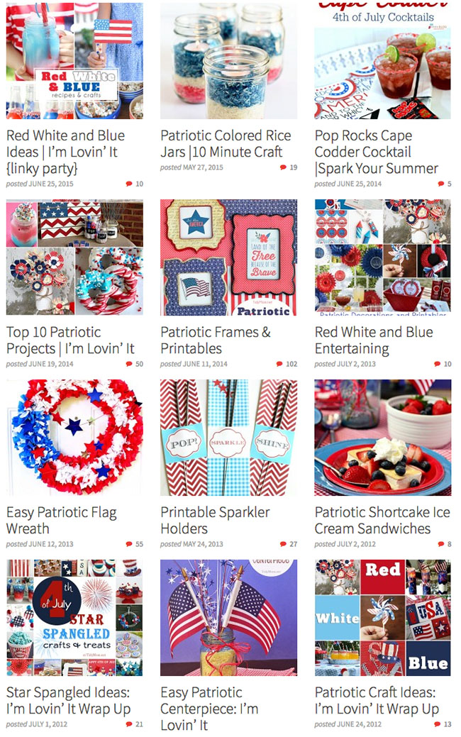 Patriotic recipes, crafts and printables.  Fun Red, White and Blue ideas for Fourth of July and Memorial Day at TidyMom.net