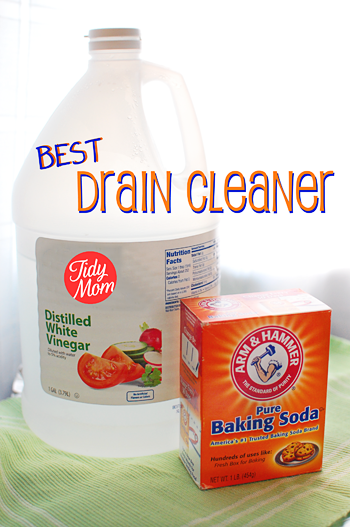 Unclogging drains with baking soda and vinegar, without using chemicals. Natural Homemade Drain Cleaner is easier than you think, and way less expensive. Details at TidyMom.net