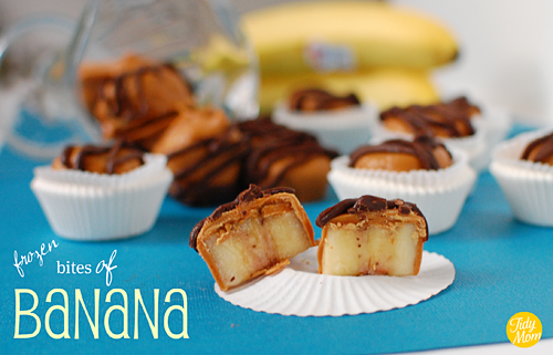 Frozen Peanut Butter Banana Bites recipe at TidyMom.net | Biting into one of these trifecta flavored nuggets reveals a surprisingly delicious 'ice-cream-like' treat!