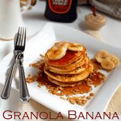 granola banana pancakes