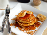 Granola Banana Pancakes with Cinnamon Honey Butter