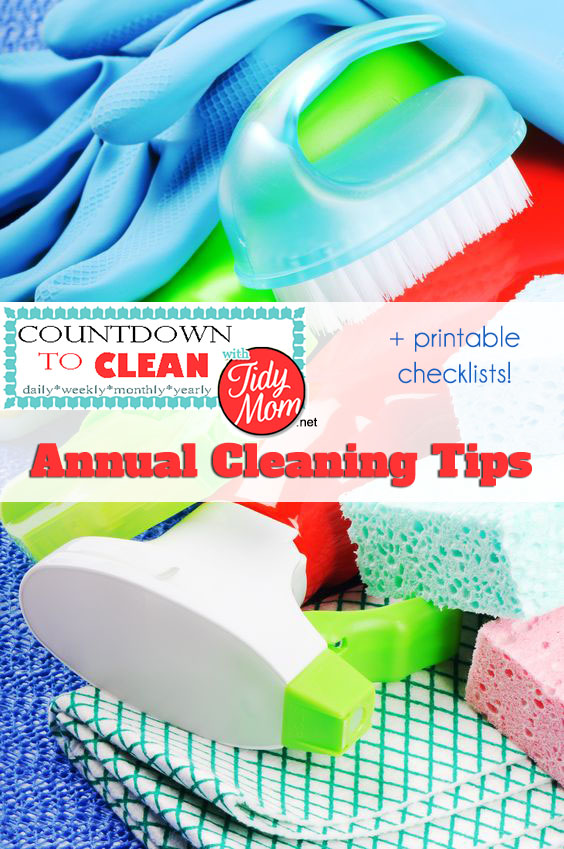 Countdown to Clean.  Annual Cleaning Tips at TidyMom.net  Using this method, you will get your house clean without back-breaking effort.  Remember, the more often you clean, the less build up you will have.