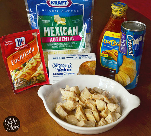 Ingredients to turn chicken enchiladas into finger food! #recipe at TidyMom.net