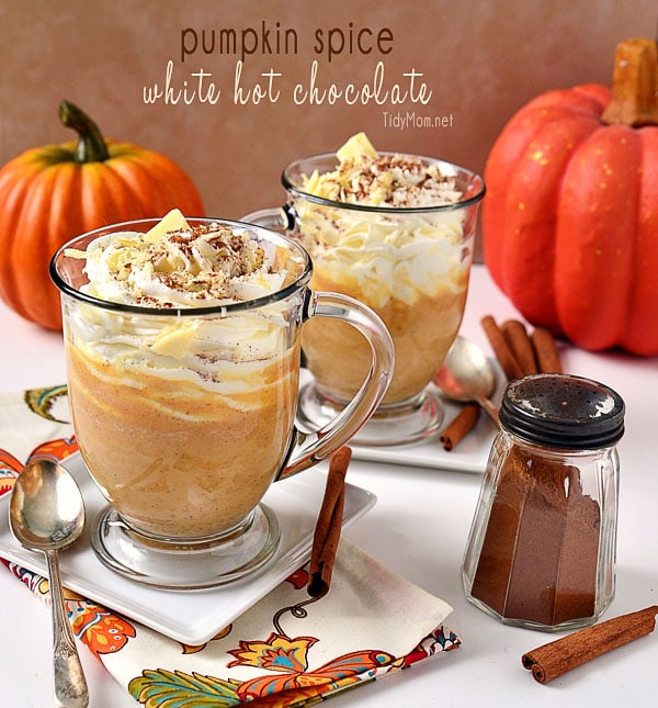 Pumpkin Spice White Hot Chocolate at TidyMom.net