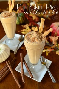 Pumpkin Pie Milkshake with Pie Crust Straws recipe at TidyMom.net