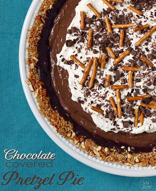 Chocolate Covered Pretzel Pie recipe at TidyMom.net