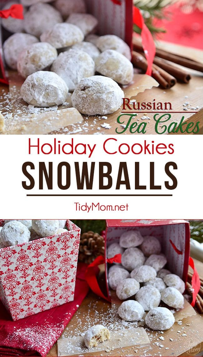 We always called this melt in your mouth cookie Russian Tea Cakes, but they are also known as Wedding Cakes, Pecan Balls, Russian Tea Cakes, Snowballs, Pecan Sandies, Swedish Tea Cakes and many more! These holiday cookies are perfect for bake sales, cookie trays and holiday gifting. recipe at TidyMom.net