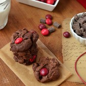 Triple Chocolate Cherry M&M cookies from TidyMom