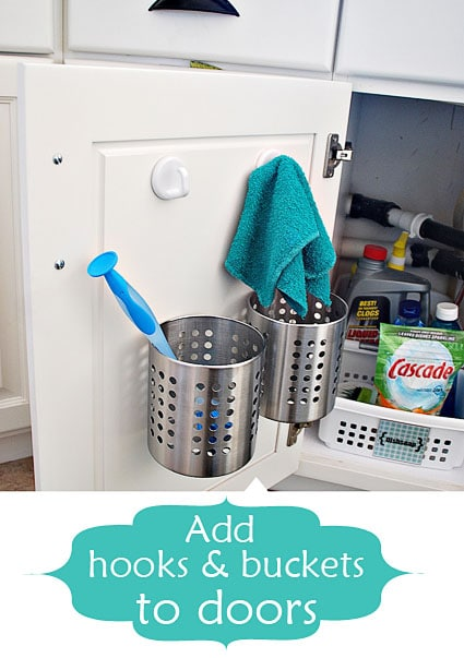 add buckets and hooks | Smart Organizing Tips for the Kitchen