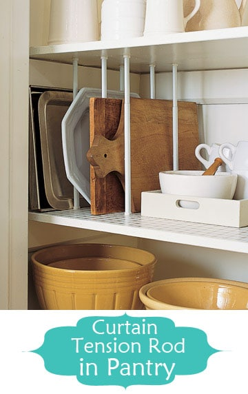 tension rod pantry dividers | Smart Organizing Tips for the Kitchen