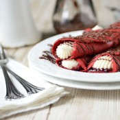Red Velvet Crepes with Raspberry &amp; Cream Cheese Filling