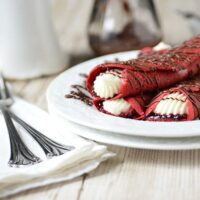 Red Velvet Crepes with Raspberry & Cream Cheese Filling