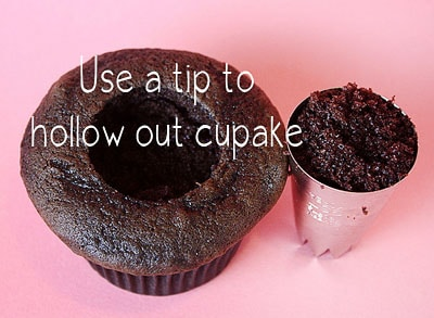hollow out cupcake with tip