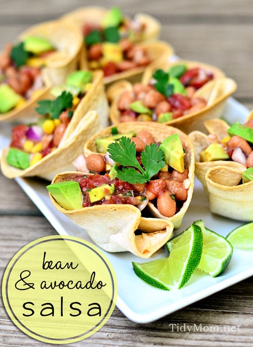 bean and avocado salsa at TidyMom