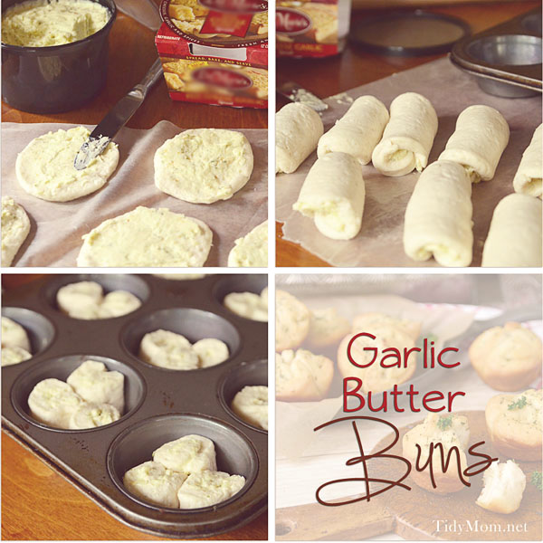 GARLIC BUTTER BUNS are easy to make using canned biscuits. Recipe at TidyMom.net