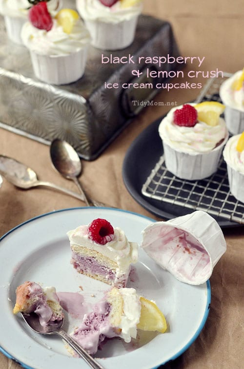 Black Raspberry & Lemon Crush Ice Cream Cupcakes