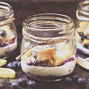 Lemon Blueberry Bread Pudding from Desserts in Jars Cookbook at TidyMom