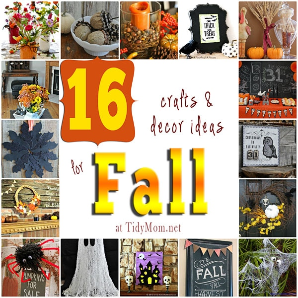 16 craft and decor ideas for Fall and Halloween at TidyMom.net